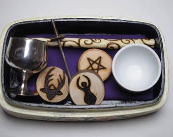 Wiccan Travel Altar Set in Vintage Painted Box - Wand, Athame, Chalice, Pentagram, God & Goddess