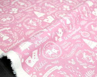 Japanese Fabric Kokka Alice in Wonderland canvas - pink - 50cm