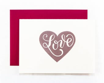 Letterpress Love Card | Stationery | Greeting Card | Valentines Day