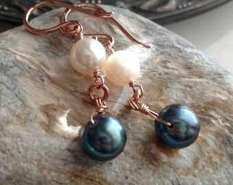 Iridescent blue black and white cultured pearl earrings - 14k rose gold filled handmade jewelry - June birthstone