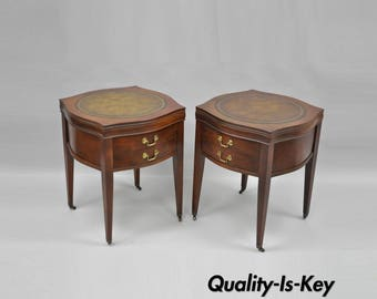 Pair Of Vintage Mahogany Tooled Leather Top One Drawer End Lamp Tables  Traditional