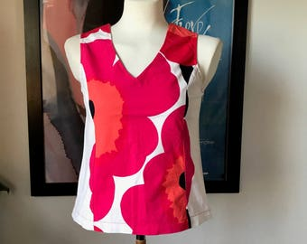 Marimekko custom made vintage top/ Figure flatting model Red Unikko Flowers / Finland Scandinavian design