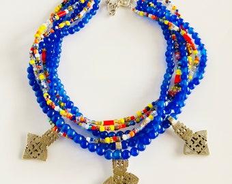 Africa Inspired Royal Blue Jade Ethiopian Cross Multi Strand Necklace