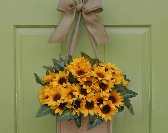 Sunflower Door Wreath - Burlap Wreath Alternative - Fall Wreath -