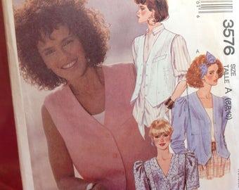 Vintage Mccalls Pattern 3576 - Vest Pattern, Top Pattern, Sizes 6 8 10, Uncut Pattern