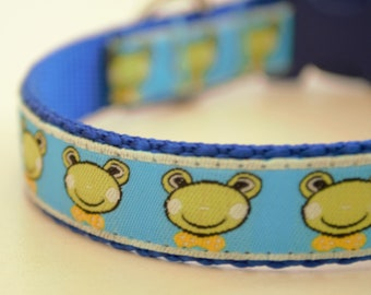 Frogs in Bow Ties Adjustable Dog Collar