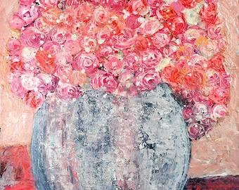 Peachy Pink Flower Painting Print. Cottage Chic Decor. Still Life Floral Art Digital Prints. No 74