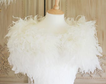 Feather bolero/ostrich feather wrap/bridal wrap/bridal bolero/wedding boleros/wedding wraps/wedding shrugs/wedding accessories