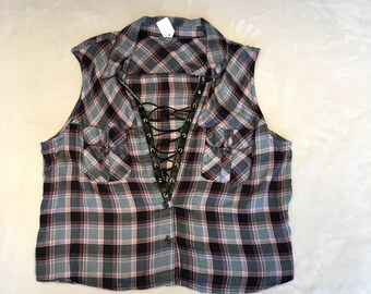 Blue plaid sleeveless shirt