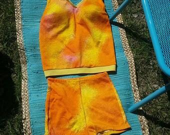 VTG 50's 60's MOD Bikini Go-Go Orange//Yellow Sz Med