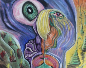 Original Fantasy Psychedelic Art - Abstract Whimsical Peyote Dreams Trippy Colourful Outsider Artwork - Weird Eyes Nature  Hippie Illusion
