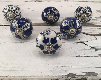 Complete Set of 6 Ceramic Knobs Decorative Tomato Shape Pull Ceramic Hand Painted Cobalt Blue Patterns, You get 6 knobs, Item #472751324