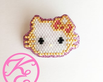 Hello Kitty brooch with Miyuki beads