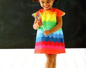 girls dress in rainbow scallop print
