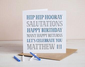 Hip Hip Hooray, Personalised Birthday Card