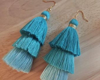 Turquoise Layered Tassel Earrings