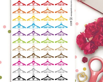 Dry Cleaning Planner Stickers    Erin Condren ECLP Life Planner   Kikki K   Filofax    Chores   Washing Clothes   Laundry Stickers