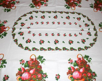 Vintage Printed Tablecloth, Cotton Tablecloth, Picnic Cloth, Red Fruit Tablecloth, Cottage Kitchen, Fabric Tablecloth
