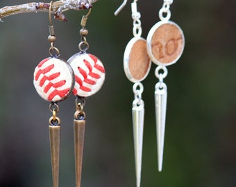 Seam or Glove Leather Baseball Earrings - Spike earrings - silver, antique brass - baseball mom jewelry - upcycled sports jewelry - 4284