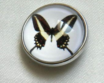black and pale yellow Butterfly snap chunk snap button