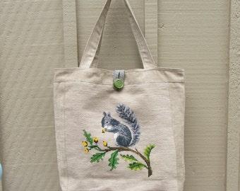 Vintage Needlepoint Handbag Tote Large Squirrel Needlework