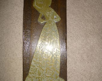 """Brass Relief Grave Rubbing - Lady Margaret Peyton 1484 - Etched 1/4"""" thick Brass Form on Wood Plank"""