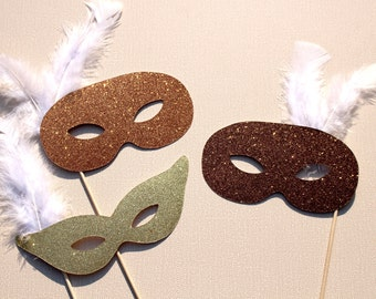Photo Booth Props - Vintage Glitter Masquerade Masks - Set of 3 Glitter Props - Photobooth Props