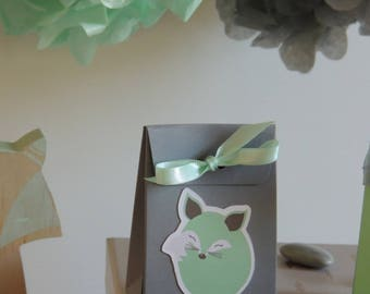 10 boxes dragees-grey Fox mint green and mint Ribbon