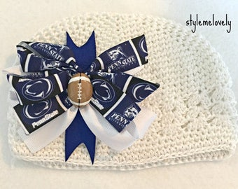 Penn State Baby Girl Boutique Bow Crocheted Hat