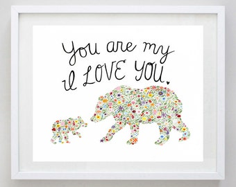Bears I Love You Floral Watercolor Art Print