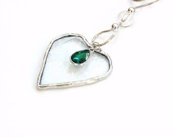 May birthstone, Emerald charm, mini heart suncatcher ornament, stained glass heart suncatcher, emerald green, May birthday gift under 25
