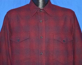 60s Pendleton Plaid Wool Button Down Western shirt Large
