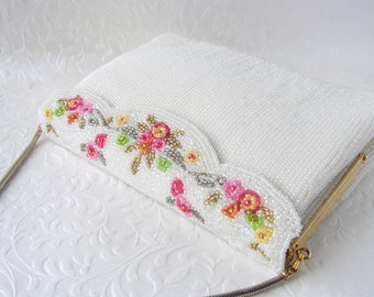 Spring Wedding White Glass Beaded Bridal Purse Formal Evening Handbag Ornate Scallop Flip Frame Pink Yellow Silver Green Flower Evening Bag