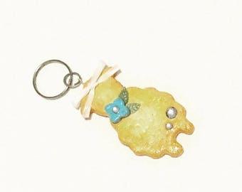Blue Flower Sheep Cookie Key Charm