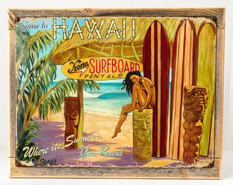 Framed Come to Hawaii Metal Sign, Surfing and Tropical Decor Wall Accent, 5406F