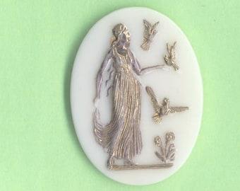 Elegant German Pressed 1 Glass Vintage Cabochon: Goddess or Maiden with Birds (Gold Accents)     (JWL)