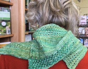 Beaded hand knit silk scarf