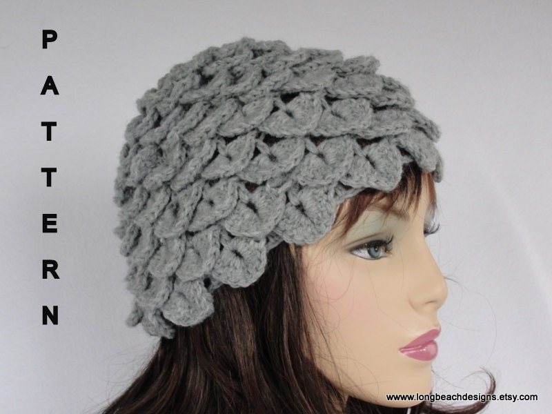Crochet Hat Pattern Crochet Beanie Pattern Crocodile Stitch