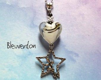 Collier avec pendentif fée et étoile et perles