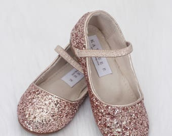 Infant Girl Shoes, Toddler Shoes, Little Kids & Big Kids Shoes - ROSE GOLD rock glitter maryjane flats - for flower girls, fairies, and prin