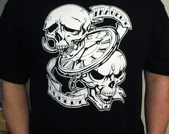 Tragedy Over Time is Comedy Skulls Black T-Shirt