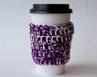 Purple and White Coffee Cozy