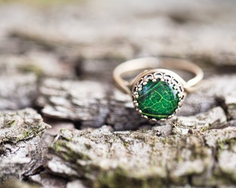 Green leaf ring, Mothers day gift, Nature lover gift for mom, Adjustable ring, Botanical ring, Gren ring, Green Leaf jewelry, Botanic ring
