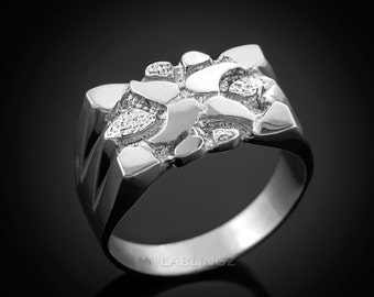 Mens White Gold Nugget Ring