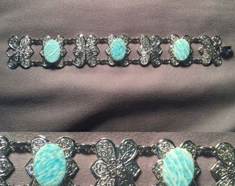 Amazonite Butterfly/Flower Bracelet