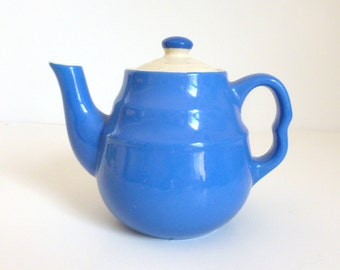 Mid Century Blue & White Ceramic Miniature Personal Teapot