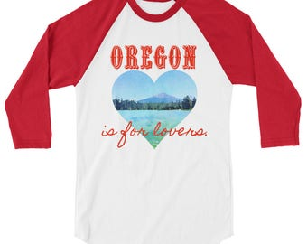 Oregon is for lovers, Valentine's Day, heart, mountain, lake, trees, watercolor, 3/4 sleeve raglan shirt
