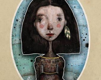 Whimsical Art- Whimsical print- Girl Illustration - Whimsical Girl - Mixed Media Collage Art- Vintage Collage - Wall art