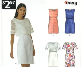 A6342 New Look Simplicity Misses Dress with over bodice - UNCUT Sewing pattern - Size 8-10-12-14-16-18-20
