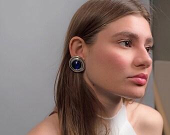 Oversized Round Earrings / Geometric Statement Earrings / Vintage 80s Earrings / 80s Round Earrings / vintage 80s jewelry